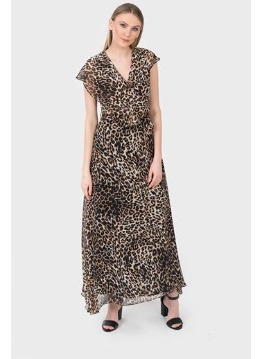 İroni Leopar Uzun Şifon Elbise Leopar